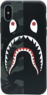 iPhone Xs Max Case Street Fashion Design, Flexible Durable Full-Protective Back Case Cover for iPhone Xs Max 6.5inch (Black/Shark)