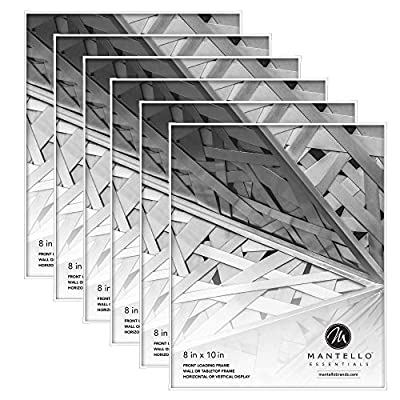 Mantello 8x10 Front Loading Picture Frames - White Frame Set for Tabletop or Wall Decor, 6 Pack - Large Holder for Photos, Collage, Artwork with Polished Edge Glass