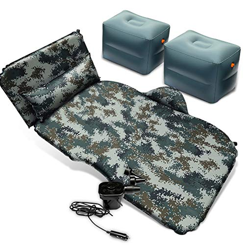 Coococ SUV Air Mattress Automatic Inflation Air Bed Portable Camping Travel Back Seat Sleeping Pad With Electric Air Pump Thickened Car Mattress Home Rest Pad Camouflage A