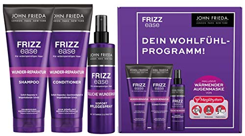 John Frieda Frizz Ease Wunder Reparatur Vorteils-Set - Shampoo, Conditioner, Sofort-Pflege-Spray und MegRhythm Augenmaske - Wohlfühlprogramm für Zuhause, 1 stück