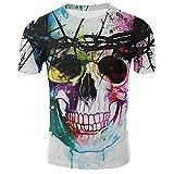 Nueva camiseta de la impresión del cráneo de los hombres de las mujeres de la camiseta del estilo del punk
