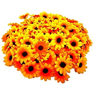 Silk Flower Arrangements HONBAY 100PCS 4cm/1.57inch Fabric Daisy Flower Heads Artificial Fake Flowers Heads for Wedding Party Decorations (Yellow)