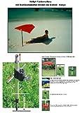 Hollysun Beachway-Fächer-Sonnenschirm - rot + ALU Multbodenhalter + Exklusiv Stoffbezug Polyester 160 g/m² - ZANGENBERG-HUSUM + Tisch - Stuhl - Balkonklammer 59 SC mit Gummischutzkappen +...