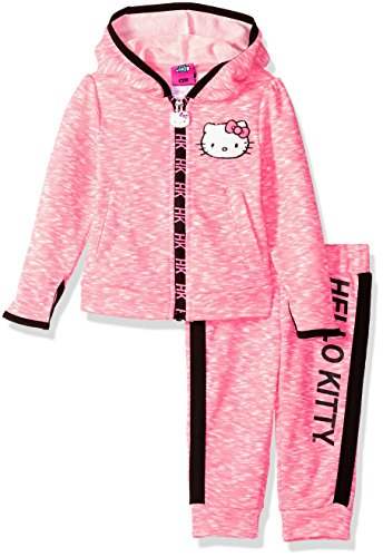 Hello Kitty Baby-Mädchen Girls' 2 Piece Embellished Active Hosen Set, neon pink, 3 Jahre
