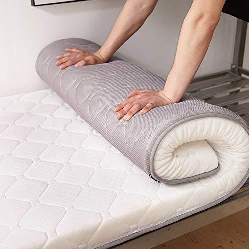 Tina Transpirable Colchón de futón Tatami japonés,10cm Espesar Antideslizante Anti alergénica Protector colchón Inicio Dormitorio estudiantil-10cm Thick Blanco 150x190cm(59x75inch)