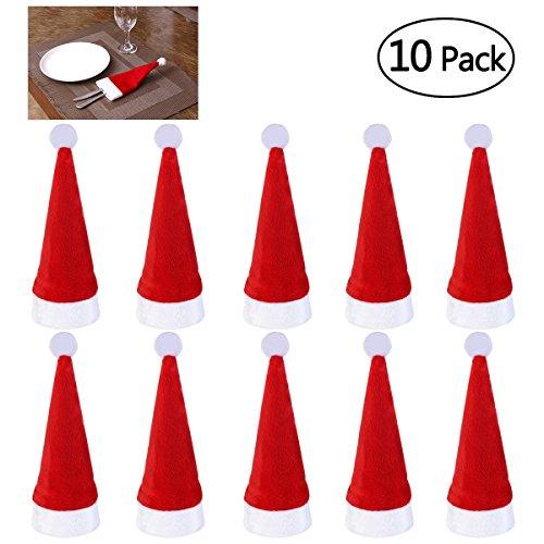 NICEXMAS Tischdekoration Weihnachtsdeko Weihnachtsmann Mütze Besteckhalter für Weihnachten Deko,10 Stück