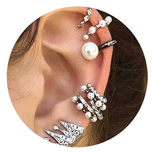 Weiy 9pcs Ear Cuff Wrap Non Piercing Clip on Cartilage Earrings Crown Simulation Pearl Beads Earrings Ear Clip for Women