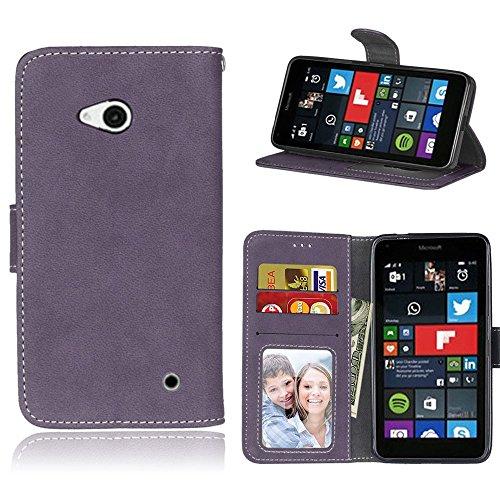 pinlu Hohe Qualität Retro Scrub PU Leder Etui Schutzhülle Für Microsoft Lumia 640 Dual-Sim Lederhülle Flip Cover Brieftasche mit Stand Function Innenschlitzen Design Lila