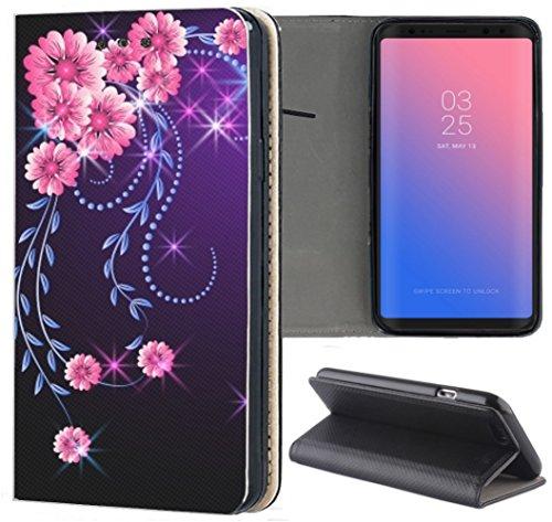 Handyhülle für Samsung Galaxy A3 2016 Premium Smart Einseitig Flipcover Flip Case Hülle Samsung A3 2016 Motiv (297 Blumen Pink Schwarz)