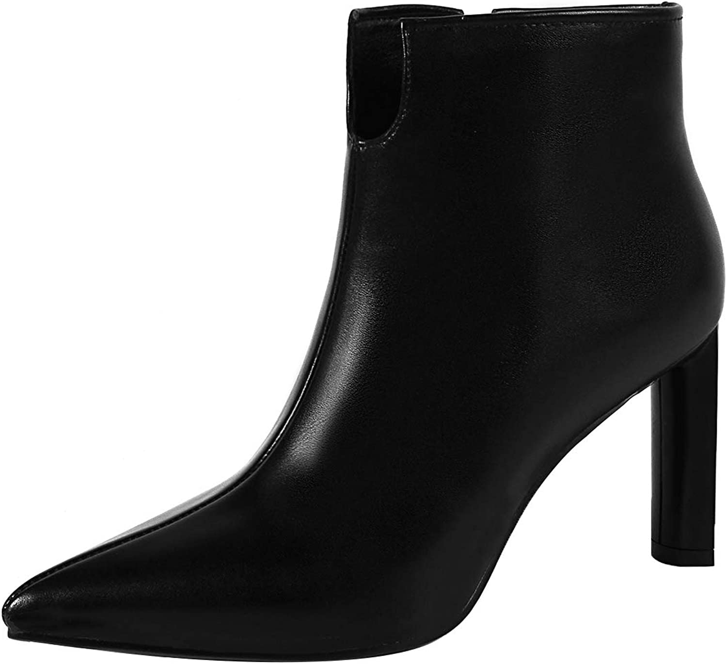 Eithy Women's Shabus Stiletto Ankle-high Zipper Leather Boots