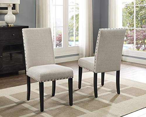 Roundhill Furniture Biony Tan Fabric Dining Chairs with...