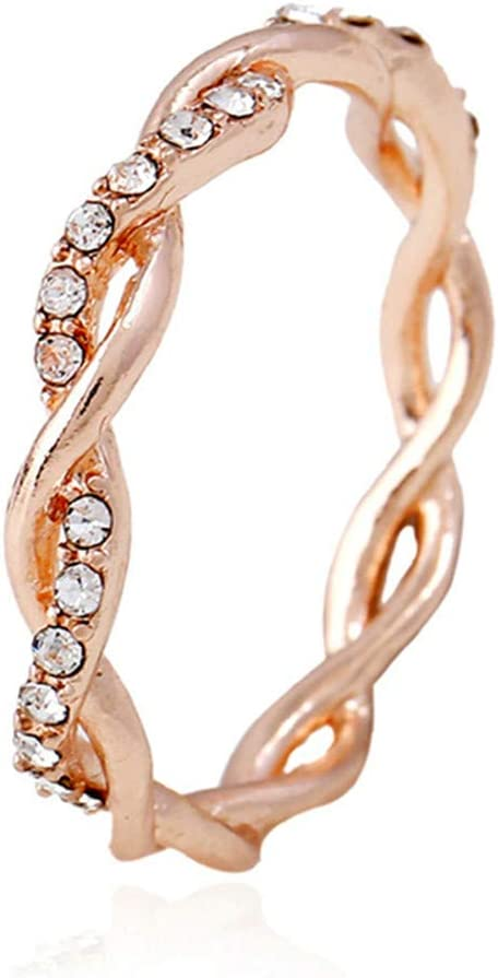 Sperrins Ranking TOP2 Dedication Gold Plated Cubic Zirconia Eternity Band Rope Twisted R