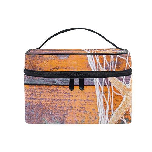 Trousse de maquillage Coquillage Poissons Filet Bois Cosmétique Sac Portable Grand Trousse de Toilette pour Femmes/Filles Voyage