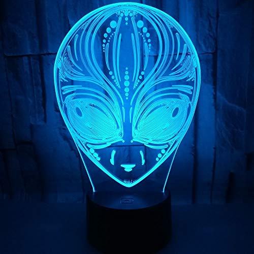 DFDLNL USB7 Colores cambiantes Aliens Shape Led Night Light 3D lámpara de Mesa de Escritorio Magic Mood Sleeping Lighting para Regalo de niño