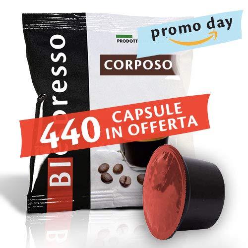 BIespresso Caffè Mezcla corporal – Paquete de 400 cápsulas + 40 cápsulas de regalo – Compatible con Lavazza Blue