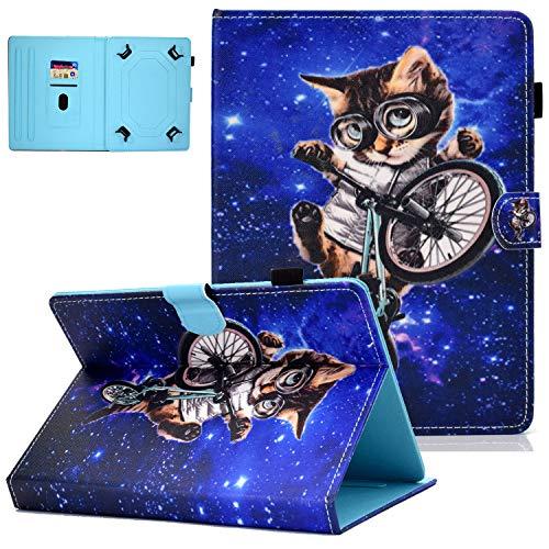 UGOcase - Funda universal de piel sintética para tablet Samsung Galaxy Tab E 7.0/Tab 3/Tab A 7.0/Fire 7.0 / y más de 6.5-7.5 pulgadas B3-Gafas Gato For 7.5-8.5 inch tablet