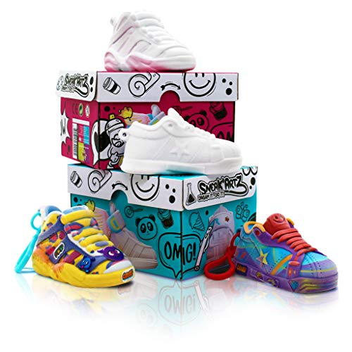 Splash Toys- SNEAK'ARTZ SHOEBOX Bleue et Fuschia-Loisirs créatifs-Design et personnalise tes Baskets-Dès 5 Ans, 32236
