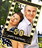 JeVenis Black Gold 50th Birthday Party Photo Booth Props 50th Birthday Photo Frame Marco de fotos de...