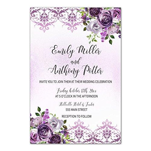 100 Wedding Invitations Purple Plum Lavender Damask Floral Design + Envelopes