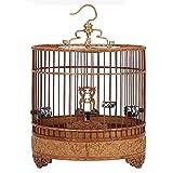 ZANZAN Jaula de Pájaros Decorativas Jaula de pájaros con Plataforma, Jaula de Vuelo de pájaro de Estilo Chino con Ganchos, jaulas de pájaros Hechas a Mano for Larks, etc, marrón
