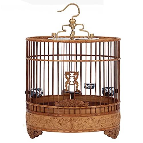 ZANZAN Gabbie per Uccelli Decorative Gabbia for Uccelli con Piattaforma, Gabbia di Volo di Uccello Stile Cinese con Ganci Ciotole, Gabbie for Uccelli Fatti a Mano for Gli Occhi ECC.-Brown