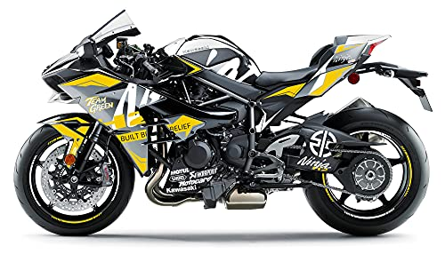 Motostick Graphics Kit de calcomanías compatible con Kawasaki Ninja H2 'Slick' 2015-2021 (amarillo)