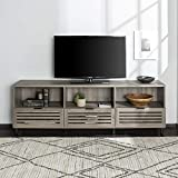 "Walker Edison Modern Slatted Wood 80"" Universal TV Stand for Flat Screen Living Room Storage Cabinets and Shelves Entertainment Center, Slate Grey"