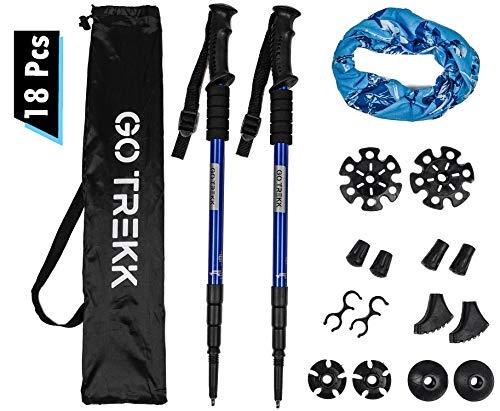 2 Bastones de senderismo profesionales 60 ~135 cm+ accesorios múltiples + bandana deportiva,Trekking poles telescópicos, Ultra ligeros, Plegables, Aleación de Aluminio, Anti Choque, Color Azul