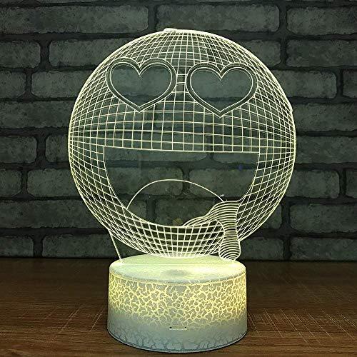 Smile Emoji Lámpara de ilusión 3D para niños, niñas, regalo, luz de noche 3D para el dormitorio junto a la mesa, lámpara de mesa de escritorio con 16 colores cambiantes, regalo para niños