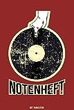 NOTENHEFT mit TABULATUR: DIN A5 für Anfänger und Fortgeschrittene / Blanko NotenBlock / Leere Notenzeilen / Notensystem / für die Schule / Komponist / mit Tabulatur / Design : Platte...