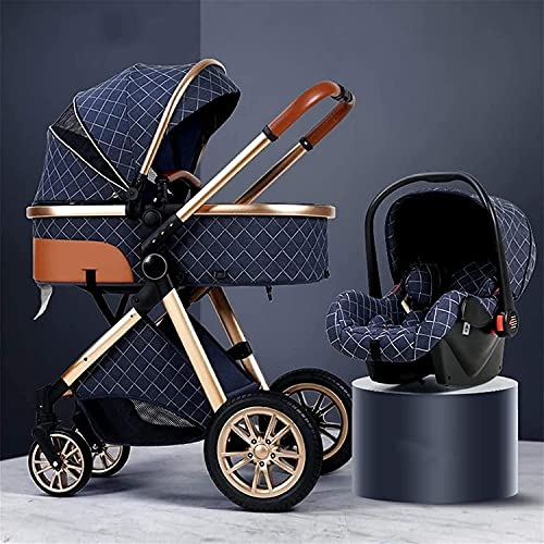 BAIW Silla de seguridad para bebé, cochecito 3 en 1, cochecito de lujo con soporte plegable, muelle amortiguador, cochecito de alta vista, cochecito con bolsa madre y cubierta para la lluvia