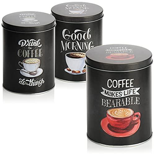 com-four® 3x Kaffeedose - Dekorative Vorratsdosen in 3 Designs - Aufbewahrungsbehälter mit Deckel für Kaffee, Tee, Kakao (03 Stück - dunkelgrau)