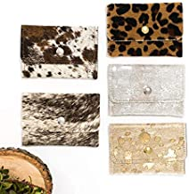 Cowhide Wallet - Envelope Wallet - Card Holder - Small leather Wallet - Leopard, Gold, Brown & White, Gray, Animal Print, Silver