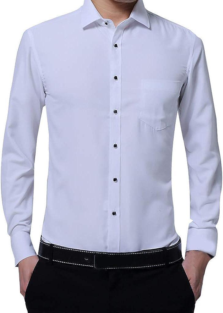 MODOQO Men's Long Sleeve Dress Shirts Business Button Down Formal Shirts