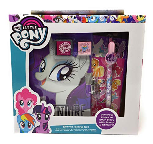 My Little Pony Secret Diary Set (Diary with Lock and Key 60 Sheets, Click Pen, Stamp Pad, Stamper, 2 Sticker Sheets