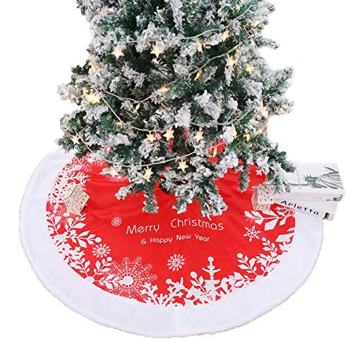 Whiie891203 Weihnachtsdeko,122cm Frohe Weihnachtsbaum Rock Schürze Rock Carpet Boden Matte Weihnachtsbaum Decke Deko Christbaumständer Boden Home Hotel Party Dekorationen Ornamente