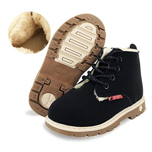 E-FAK Toddler Boys Girls Boots Waterproof Synthetic Leather Lace-Up Martin Ankle Hiking Anti-Slip Rubber Sole Baby Boots Outdoor Shoes(Toddler/Little Kid)(10.5 Toddler,02 Black with Fur)