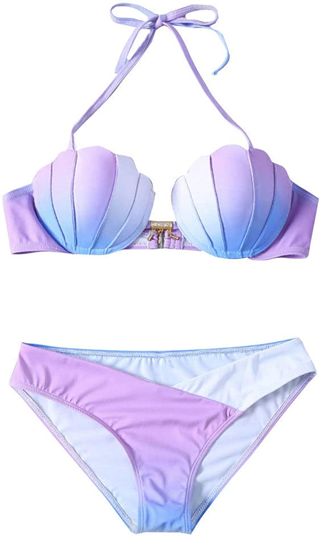 HITSAN Mermaid Shell Bra Push up TwoPiece Suit Swimwear Gradient color Beachwear Bikinis Set Swimsuit Biquini Maillot De Bain color Style 1 x A Size M