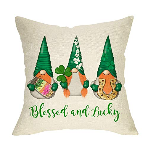 Bendito y Afortunado Throw Pillow Cover St. Patrick's Day Decoration Farmhouse Home Dcor GNOME con Shamrocks Clover Horseshoe Funda de Almohada Funda de cojín