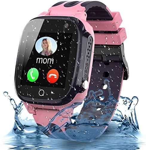 Smooce Kinder Smartwatch Telefon, wasserdichte Smartwatch für Kinder mit LBS Tracker SOS Voice Chat und Kameraspiel für 3-12 Jahre alte Kinder Geburtstag (Rosa)