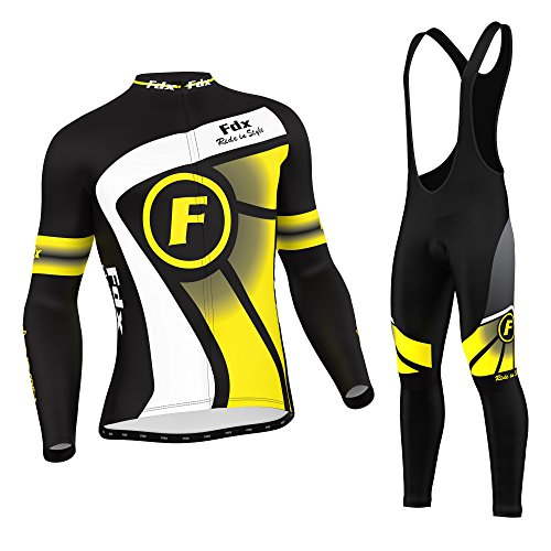 FDX - Set ciclismo termico per l'inverno, da uomo, con maglia e salopette con pettorina