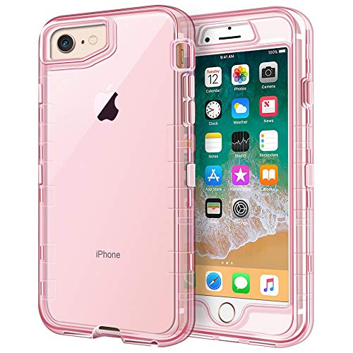 Anuck Case for iPhone SE 2020, iPhone 8 and iPhone 7, (4.7 inch), 3 in 1 Heavy Duty Defender Shockproof Full-Body Clear Protective Case Hard Plastic Shell & Soft TPU Bumper Cover, Clear Pink