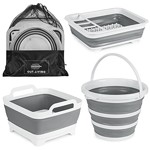 OUT.LIVING 3 Piece Collapsible Set   Camping Wash Station – 10L Foldable Bucket, 9L Collapsible Tub & Collapsible Dish Drying Rack   Portable and Durable   Multipurpose Camping & RV Essentials…