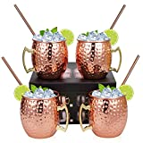 Hossejoy Moscow Mule Copper Mugs - Set of 4-100% Handcrafted Solid Copper Mugs, 16 oz Copper Cups with 4 Cocktail Copper Straws