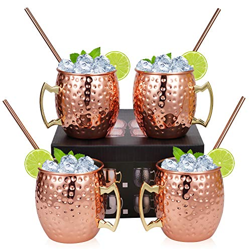 Hossejoy Moscow Mule Copper Mugs - Set of 4 -100% Handcrafted Solid Copper Mugs, 16 oz Copper Cups with 4 Cocktail Copper Straws