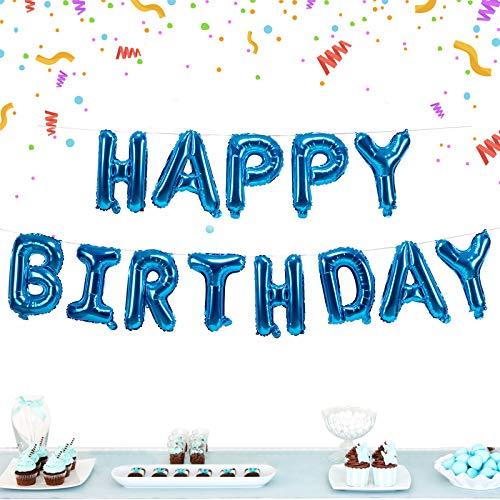 Banderines de globos de cumpleaños, autoinflables para felices cumpleaños, banderines de 40,64 cm, con letras de aluminio, para niños y adultos (azul)