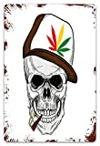 JISMUCI Metal Signs Baseball Skull Smoking Weed Wearing Hat Rastaman Cannabis Addict Tin Sign Wall Iron Painting Wall Decor Art Retro Plaques Poster Hanging Decoration for Indoor Outdoor 8'X12'