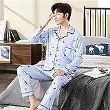 Ropa para el hogar Conjunto de Pijamas para Hombres Otoño Invierno Ropa de Dormir Top para Hombres Ocio Pantalones elásticos Sueltos Pijamas (Color: 2001, Tamaño: XXX-Large)