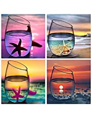 Mainstayae Diamond Painting 4pcs DIY 5D Drill Diamond Painting Needlework Crystal Painting Rhinestone Cross Stitch Mosaic Paintings Arts Craft for Home Wall Decoration