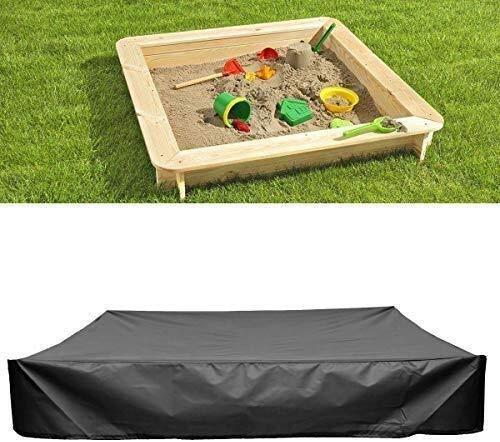 Couverture Liyue-meubles 200X200X20cm Noir 95% UV Anti jardin Sandpit Sand Box Pit Couverture Bâche imperméable rectangulaire de protection couverture de piscine